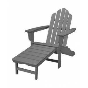 """Hanover All-Weather Contoured Adirondack Chair with Hideaway Ottoman - 37.5"""" x 29.75"""" x 48""""  - Grey"""