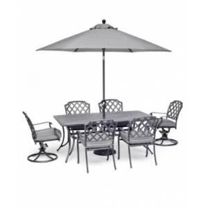 """Furniture Vintage Ii Outdoor Cast Aluminum 7-Pc. Dining Set (72"""" X 38"""" Table, 4 Dining Chairs & 2 Swivel Chairs) With Sunbrella Cushions, Created for Macy's  - Cast Slate"""