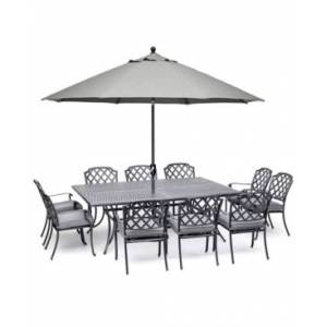 "Furniture Vintage Ii Outdoor Cast Aluminum 11-Pc. Dining Set (84"" X 60"" Table & 10 Dining Chairs) With Sunbrella Cushions, Created for Macy's  - Cast Slate"