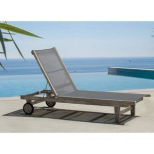 Courtyard Casual Driftwood Teak Contemporary Deck Side Outdoor Sling Lounge Chair  - Gray