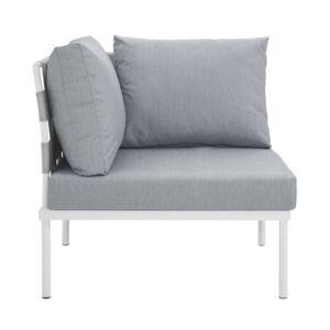 Modway Harmony Outdoor Patio Aluminum Corner Sofa White  - Gray