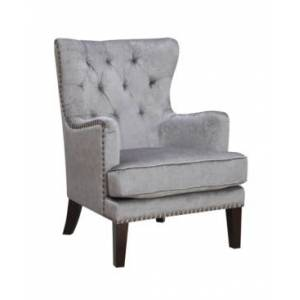 Ac Pacific Traditional Contemporary Tufted Nailhead Trim Classic Wingback Accent Chair with Arm  - Grey