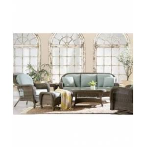 Furniture Sandy Cove Wicker Outdoor Sofa, with Sunbrella Cushion, Created for Macy's  - Canvas Spa