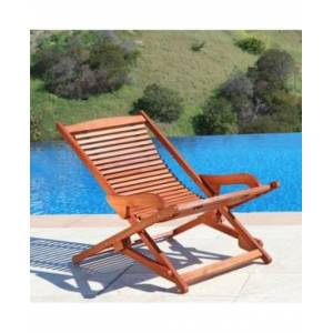 Vifah Malibu Outdoor Wood Folding Lounge  - Tan