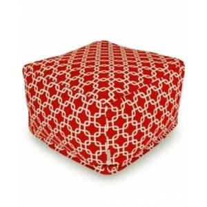 """Majestic Home Goods Links Ottoman Square Pouf with Removable Cover 27"""" x 17""""  - Red"""