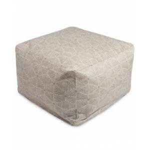 """Majestic Home Goods Charlie Ottoman Square Pouf 27"""" x 17""""  - Beige"""