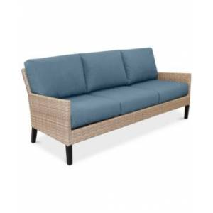 Furniture Amari Parchment Outdoor Sofa With Sunbrella Cushions  - Spectrum Denim