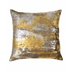 Michael Aram Silver Distressed Metallic Velvet Print Pillow Bedding  - Silver