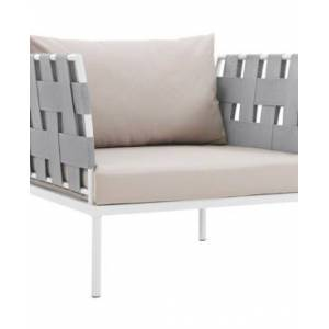 Modway Harmony Outdoor Patio Aluminum Armchair White  - Brown