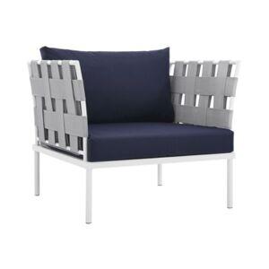 Modway Harmony Outdoor Patio Aluminum Armchair White  - Blue