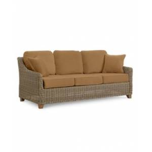 Furniture Willough Wicker Outdoor Sofa: with Custom Sunbrella Colors, Created for Macy's  - Canvas Cocoa