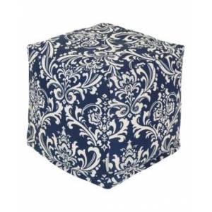 """Majestic Home Goods French Quarter Ottoman Pouf Cube with Removable Cover 17"""" x 17""""  - Navy"""