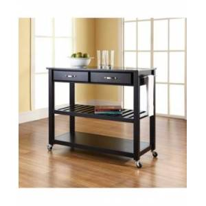 Crosley Solid Granite Top Kitchen Cart Island With Optional Stool Storage  - Black