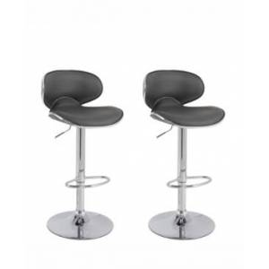 Corliving Curved Form Fitting Adjustable Barstool in Bonded Leather, Set of 2  - Dark Gray