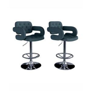 Corliving Adjustable Tufted Fabric Barstool with Armrests, Set of 2  - Dark Blue