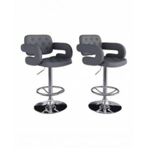 Corliving Adjustable Tufted Fabric Barstool with Armrests, Set of 2  - Dark Gray