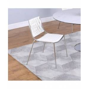 Chintaly Stackable Side Chair with Weave Back, Set of 4  - White