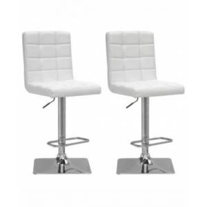 Corliving Adjustable Square Tufted Barstool in Bonded Leather, Set of 2  - White