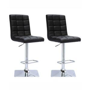 Corliving Adjustable Square Tufted Barstool in Bonded Leather, Set of 2  - Black