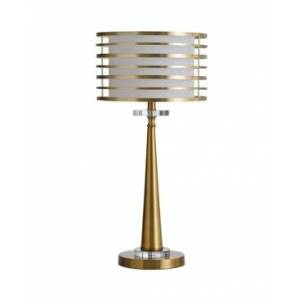 Stylecraft Elland 25in Metal Body and Crystal Glass Base Table Lamp with Metal Ring Orbital Shade