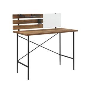 Walker Edison Modern Slat Back Adjustable Storage Writing Desk  - Brown