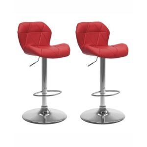 Corliving Adjustable Hex Design Barstool in Bonded Leather, Set of 2  - Red