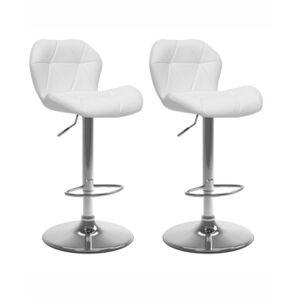 Corliving Adjustable Hex Design Barstool in Bonded Leather, Set of 2  - White