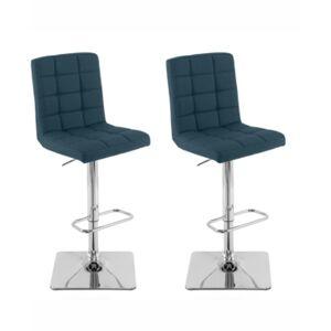 Corliving Heavy Duty Gas Lift Tufted Fabric Adjustable Barstool, Set of 2  - Dark Blue