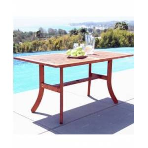 Vifah Malibu Outdoor Rectangular Dining Table with Curvy Legs  - Tan