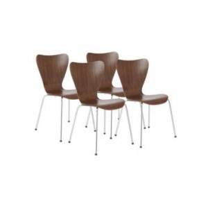 Euro Style Closeout! Euro Style Tendy Pro Stacking Side Chair, Set of 4  - Walnut