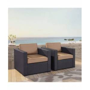 Crosley Biscayne 2 Person Outdoor Wicker Seating Set - 2 Outdoor Wicker Chairs  - Brown