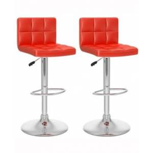 Corliving Mid Back Square Panel Adjustable Barstool in Leatherette, Set of 2  - Red