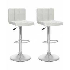 Corliving Mid Back Square Panel Adjustable Barstool in Leatherette, Set of 2  - White