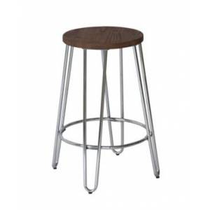 Acessentials Quinn Round Counter Stool  - Silver