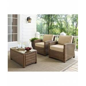 Crosley Bradenton 2 Piece Outdoor Wicker Seating Set With Cushions - 2 Arm Chairs  - Cherry