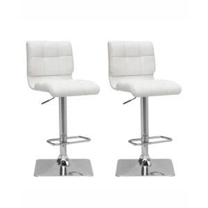 Corliving Adjustable Curved Back Barstool in Bonded Leather, Set of 2  - White