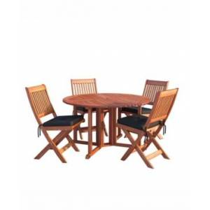 Corliving Distribution Miramar 5 Piece Hardwood Outdoor Folding Dining Set  - Brown