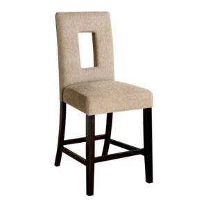 Furniture Alfano Upholstered Counter Stool (Set of 2)  - Dark Brown