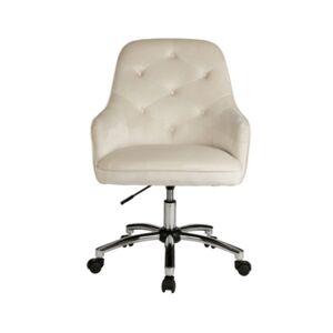 Glitzhome Velvet Gas Lift Adjustable Swivel Office Chair/Desk Chair  - Cream