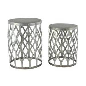 """Rosemary Lane Set of 2 Contemporary 19"""" and 22"""" Round Gray Iron Patio Tables  - Gray"""