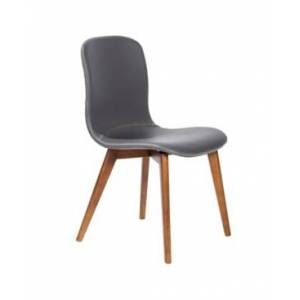 Euro Style Mai Side Chair in Leatherette with Solid Wood Legs - Set Of 2  - Gray