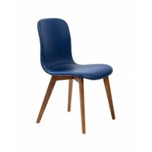 Euro Style Mai Side Chair in Leatherette with Solid Wood Legs - Set Of 2  - Dark Blue