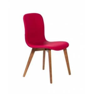 Euro Style Mai Side Chair in Leatherette with Solid Wood Legs - Set Of 2  - Bright Red