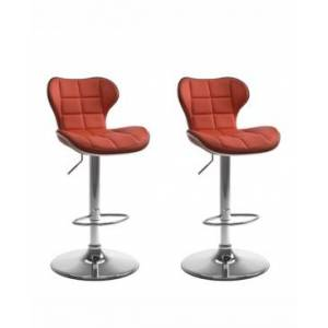 Corliving Adjustable Chrome Accented Barstool in Bonded Leather, Set of 2  - Red