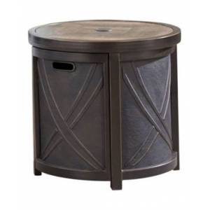"""Hanover 25"""" Round Umbrella Side Table with Tile Tabletop - 23"""" x 25"""" x 93.7""""  - Brown"""