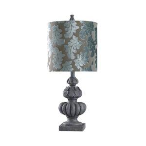 Stylecraft Rye Slate 27in Cast Table Lamp with Designer Print Shade  - Rye Slate