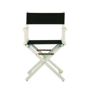 """Yu Shan 18"""" Canvas Director's Chair  - White, Black"""