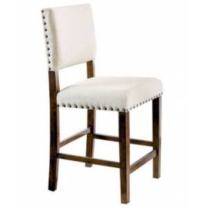 Furniture Of America Mai Brown Cherry Pub Chair (Set of 2)  - Off-White