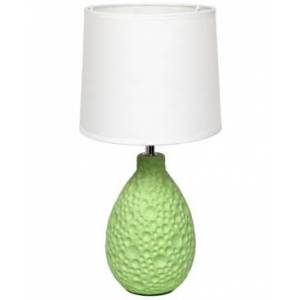 All The Rages Simple Designs Textured Stucco Ceramic Oval Table Lamp  - Green