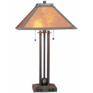 Cal Lighting Table Lamp with Mica Shade  - Russet